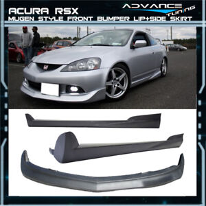 For 05 06 Acura Rsx Mugen Style Front Bumper Lip Spoiler Side Skirt Pu Dc5