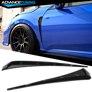 Fits 16 20 Honda Civic 10th Gen Front Fender Side Vent Cover Gloss Black Abs