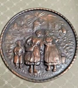 Vintage England Repousse Solid Copper Wall Hanging Dutch Scene Well Marked