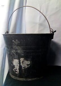Antique Vintage Primitive Rustic Black Galvanized Metal Bucket Pail