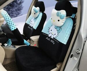 18 Piece Black And Blue Polka Dot Hello Kitty Car Seat Covers