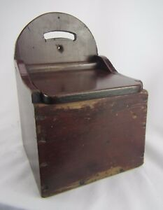 Large Antique Primitive Wall Hanging Salt Or Spice Box With Red Brown Paint
