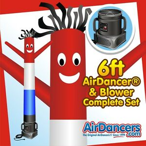 Red White Blue Air Dancers Inflatable Tube Man 1 4 Hp Sky Dancer Blower 6ft