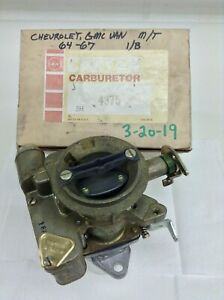 Nos Carter Yf Carburetor 4375s 1964 1967 Chevy Gmc Truck 6 Cylinder Engine