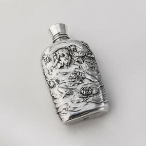 Art Nouveau Lady S Flask Sterling Silver Unger Brothers 1900