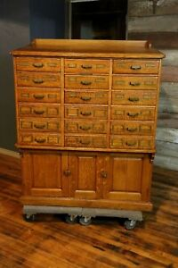 Antique Sole Makers Library Bureau Tiger Oak Card Catalog Index File Cabinet Old
