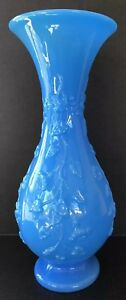 French Blue Opaline Milk Glass Turquoise Large Vase 16 Ivy Leaves