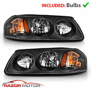 For 2000 2005 Chevy Impala Black Replacement Turn Signal Headlights Pair