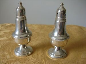 Shreve Crump Low Co Marked Sterling Silver Salt Peppers Empire Weighted