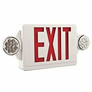 Lithonia Lighting 2 light Led White Exit Sign Emergency Red Stencil Combo Heads