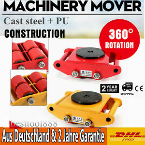 13200lb 6t Machinery Mover Roller Dolly Skate W 360 Swivel Top Plate 4 rollers