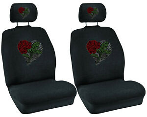 Heart Red Rose Flower Crystal Studded Rhinestone Car Low Back Seat Covers 4pc