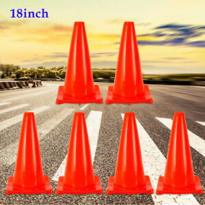 18 Safety Cones Parking Driveway Fluorescent Red Traffic Cones 6 pack Pvc