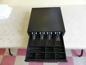 Metal Cash Drawer Box 4 Bill And 7 Coin Compartments