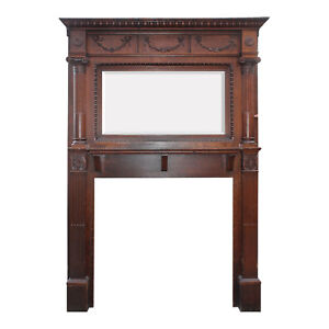 Antique Quarter Sawn Oak Fireplace Mantel With Beveled Mirror Nfpm190