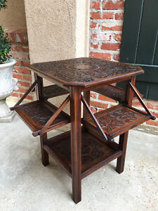 Antique English Carved Oak Side Drop Leaf End Table Server Craftsman Era Octagon