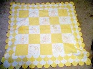 Vintage Hand Stitched Embroidered Scalloped Yellow Baby Quilt