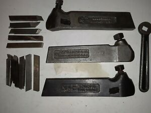 Lot Of 3 8 Machinist Lathe Tool Holders Wrench And 3 8 Tool Bits