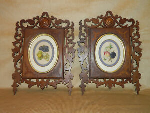 Pair Walnut Victorian Open Carved Frames With Oval Interior