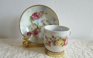 Vintage Hand Painted Tea Cup And Saucer Japan Gift For Mother Euc Ship Fast