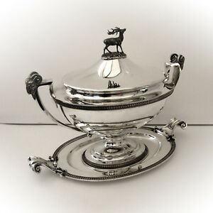 Covered Soup Tureen Rams Head Stag 950 Sterling Silver Ball Black 1865