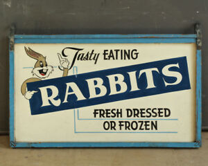 Mid 20th Century Tasty Eating Rabbits Bugs Bunny Folk Art Trade Sign Vr