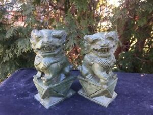 2 Carved Foo Dog Pair Vintage 6 1 2 Tall X 3 1 4 Lg Green 99