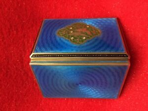 Antique Sterling Silver Guilloche Enamel Plique A Jour Case Box With Diamond