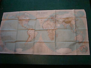 Original National Geographic Map 1935 The World Aprox 23 X 44 Clean