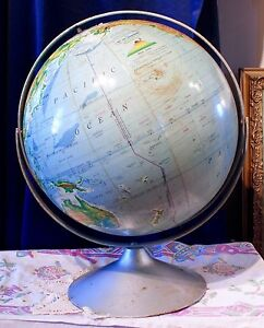 Handsome Vintage 16 Nystrom Sculptural Relief Globe Metal Rotate Swivel