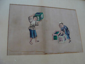 Original Framed Painting On Silk Early But Undated Carring Boxes Working
