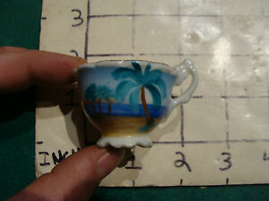 Tiny Tea Cup Hand Painted Gnco Sticker On Bottom