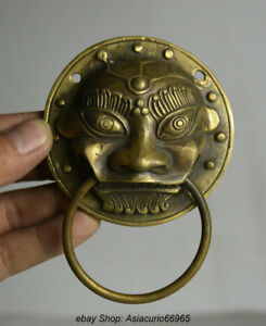 4 4 Old Chinese Copper Feng Shui Foo Fu Lion Beast Statue Door Knocker Ring Z01