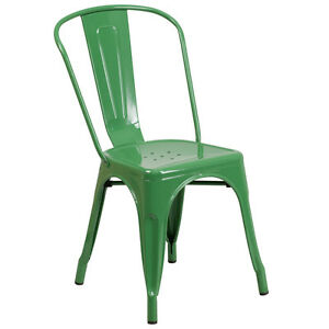 Tolix Stye Chairmetal Industrial Outdoor Restaurant Bistro Stackable Green
