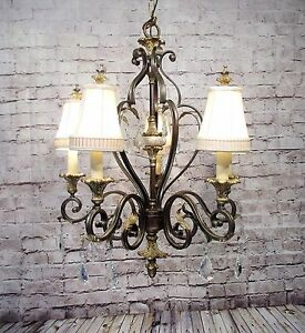 Vintage Style Large Iron Chandelier 5 Light Fixture Lamp Leafy Shades Grand