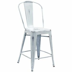 Tolix Style Metal Distressed White Industrial Restaurant 24 Counter Stool