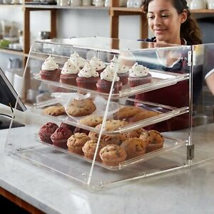 Small Bakery Display Case Box 3 Tray Rear Door Donuts Pastry Cookie Coffee Shop