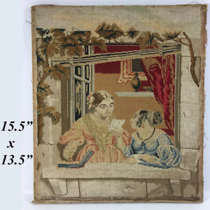 Antique Victorian Needlepoint Embroidery Sampler Panel Girls W Letter No Frame
