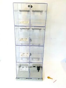 Showcase Display Case 4 door 8 compartments Clear Acrylic 9 X 8 5 X 28 Inches