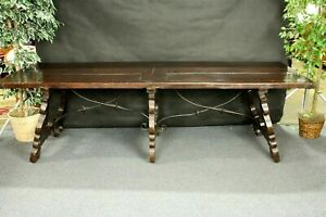 Antique Refectory Table Iron Stretchers Very Old Spanish Style 8 6 Long
