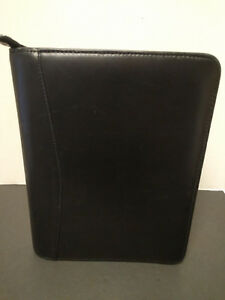 Franklin Covey Black 7 Rings Binder Planner Organizer Full Grain Leather