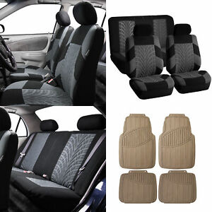 Blue Black Car Seat Covers For Sedan Suv Truck W Beige Heavy Duty Mats