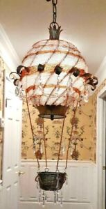 Gorgeous Vintage Gold Tole Crystal Beaded Hot Air Balloon Chandelier 3l Ooak
