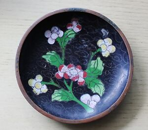 Vintage Chinese Cloisonne Floral Small Dish Black Enamel Plate