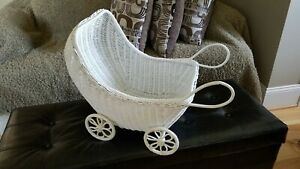 White Wicker Baby Doll Carriage