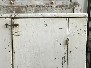 Aafa Folk Art Antique Wood Cabinet Cupboard Old White Paint Square Nails Early
