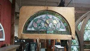 Antique Semi Circle Stained Glass Victorian 19th C Arch Window W Original Frame