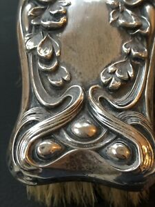Kerr Sterling Silver Vanity Dresser Clothes Brush Antique Art Nouveau Victorian