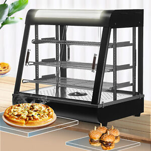 26 x26 x20 Commercial Food Pizza Heated Display Warmer 3 Tiers Cabinet Case
