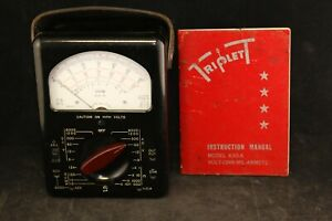 Triplett Model 630 a Voltage Tester W Manual Volt ohm mil ammeter